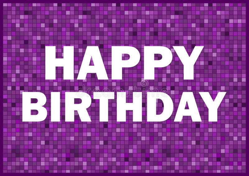 Happy Birthday. Card with purple colours and white text royalty free stock photography