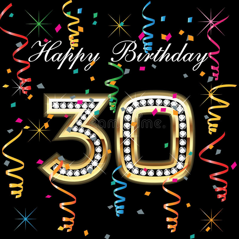 Happy birthday 30. With colorful confetti stock illustration