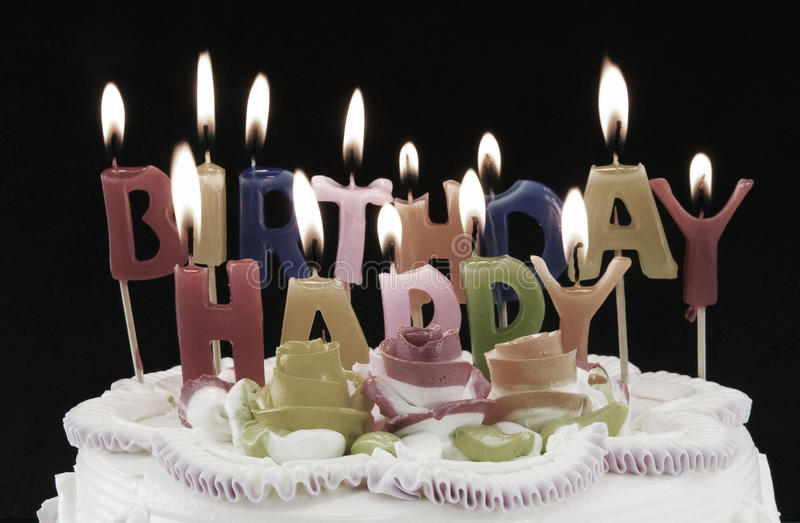 Happy Birthday. Birthday cake with happy birthday candles stock photo