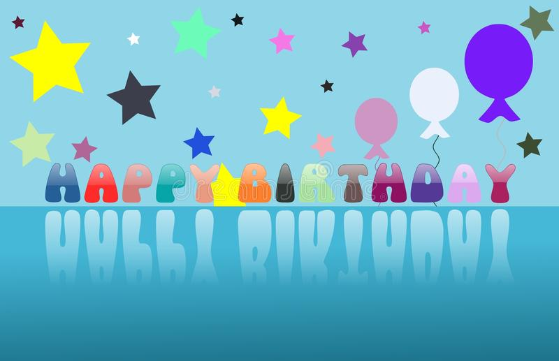 Colorful Happy birthday greeting card with balloons. Nice happy birthday greeting card with hearts and gifts royalty free illustration
