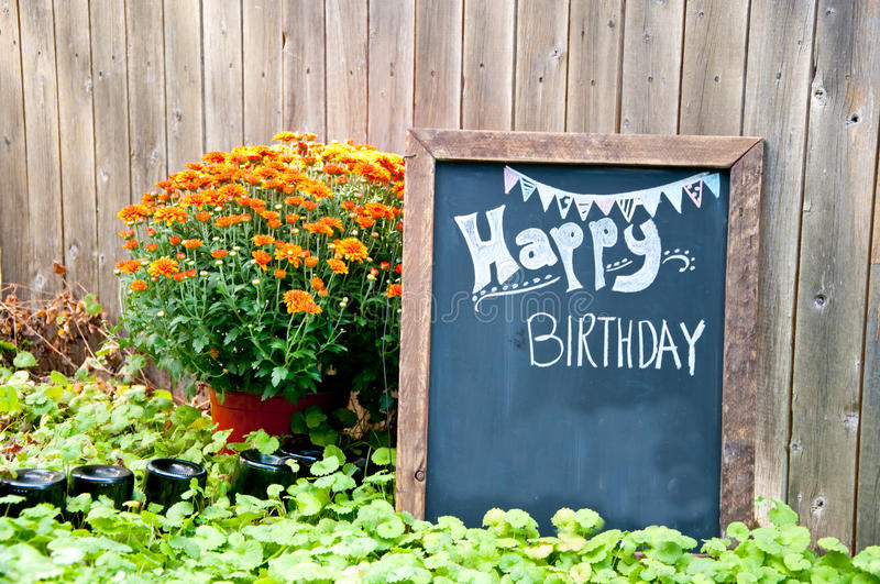 Happy Birthday. A Chalk board sign for a Birthday Party stock photography