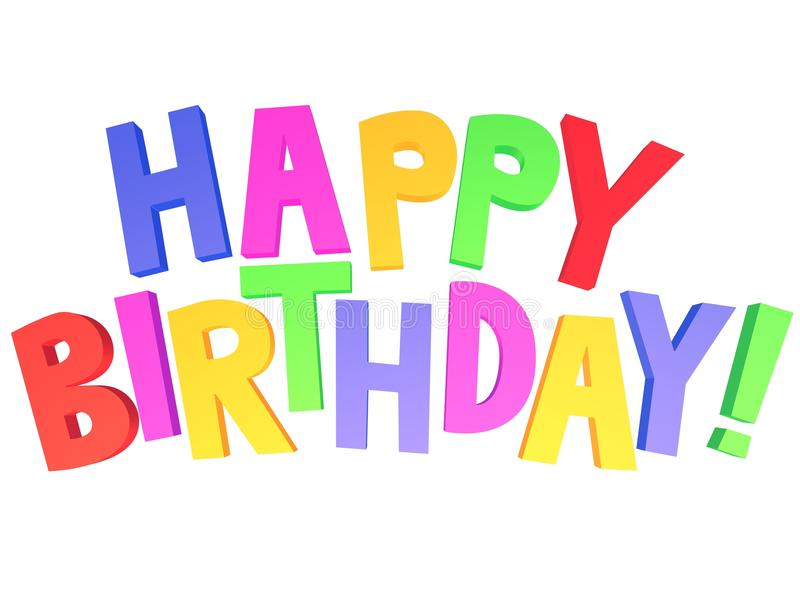 Happy birthday 3d graffiti stock photo