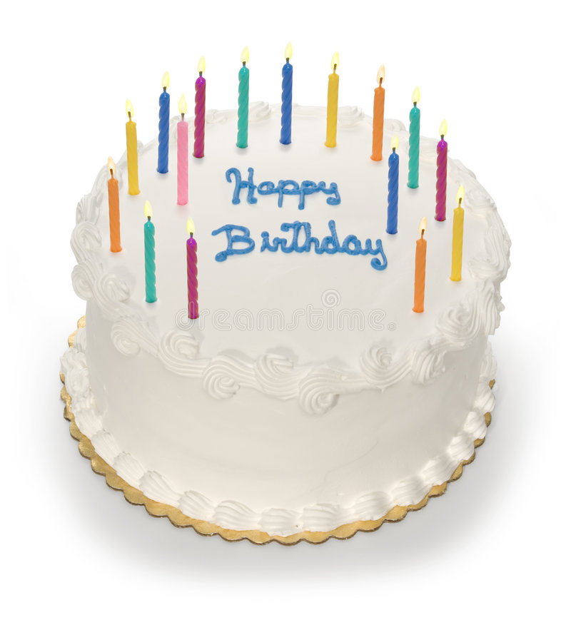 Happy BirthDay. A happy birthday cake with unlit candles stock photography