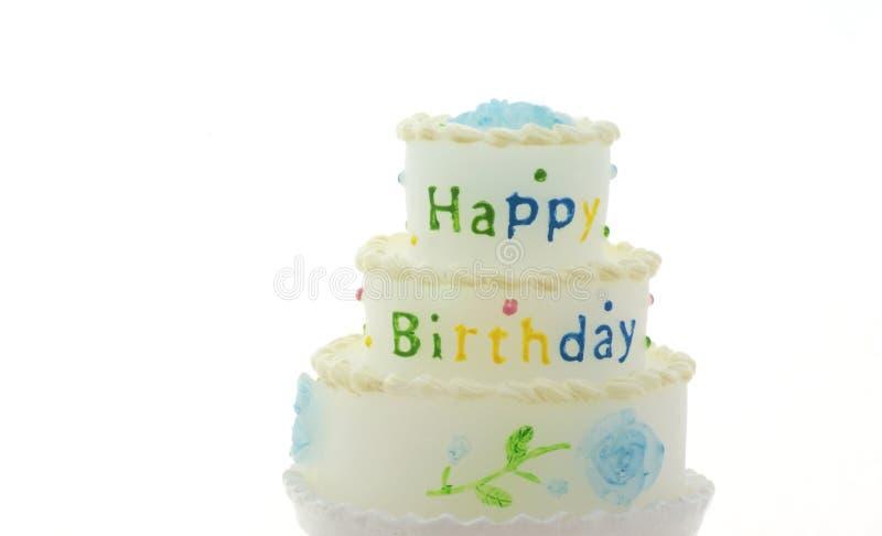 Happy birthday. Little happy birthday cake on a white background royalty free stock photos
