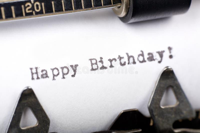 Happy Birthday. Typewriter close up shot, concept of Happy Birthday stock images