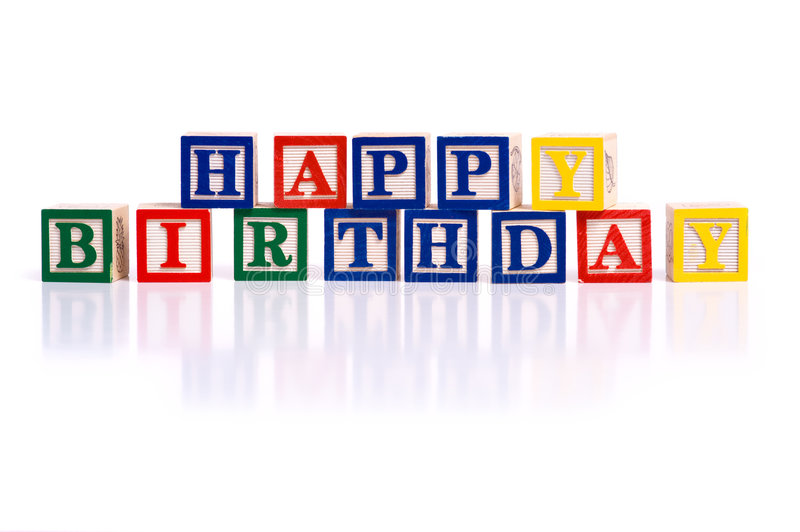 Happy Birthday. The words happy birthday spelled out in wooded block on a white background with copy space royalty free stock image
