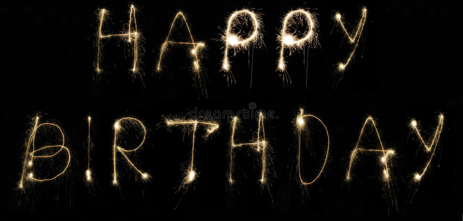 Happy Birthday. Message spelt by hand using sparklers at night on long exposure stock images