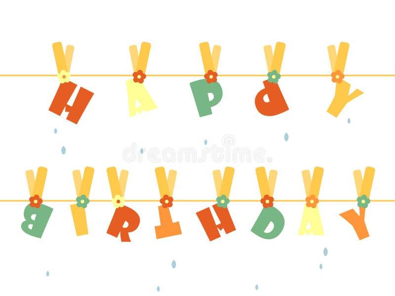 Happy Birthday. Laundry greeting card royalty free illustration