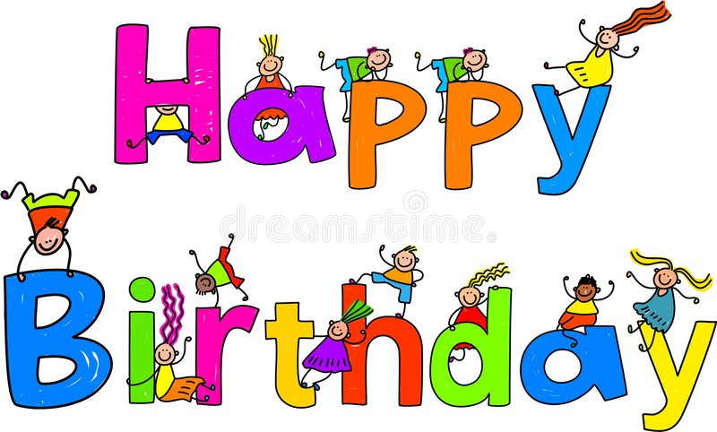 Happy birthday. Text message with little kids climbing over the letters stock illustration