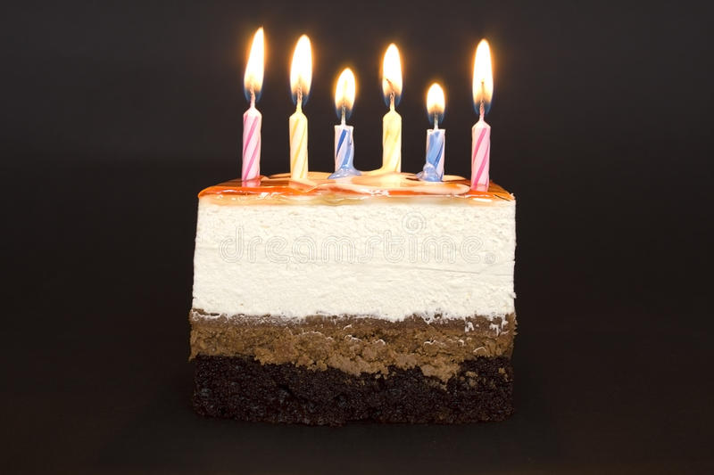 Happy birthday. Cake with candles stock image