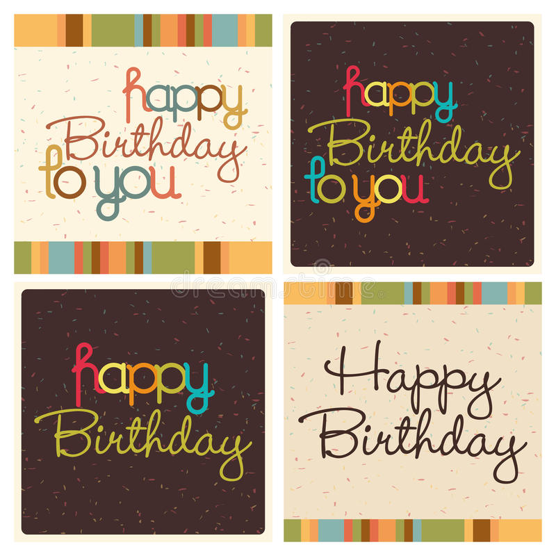 Happy Birthday. Abstract happy birthday text on different special background royalty free illustration