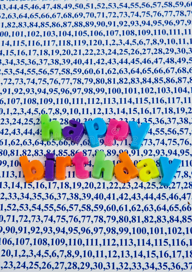 Happy Birthday. All ages are covered. An image of ages from one to a hundred and twenty as a background with the message ' Happy Birthday ' overlaying it. It is stock images