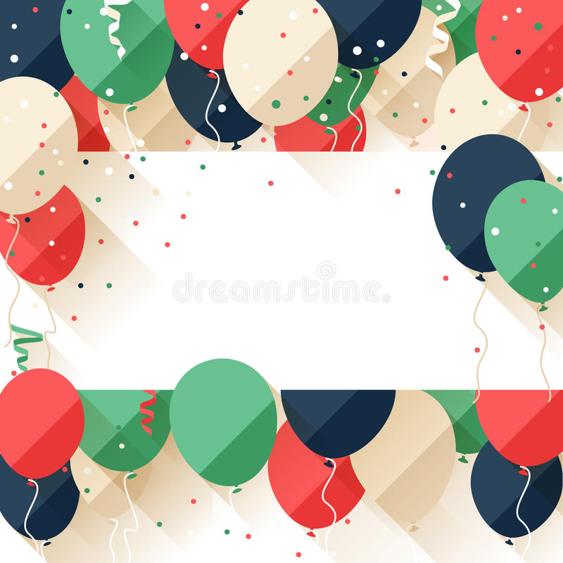 Happy Birthday announcement / poster / flyer. Happy Birthday greeting card in a flat style royalty free illustration