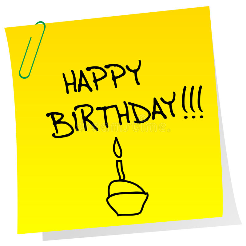 Happy birthday announcement on a sheet of paper royalty free illustration