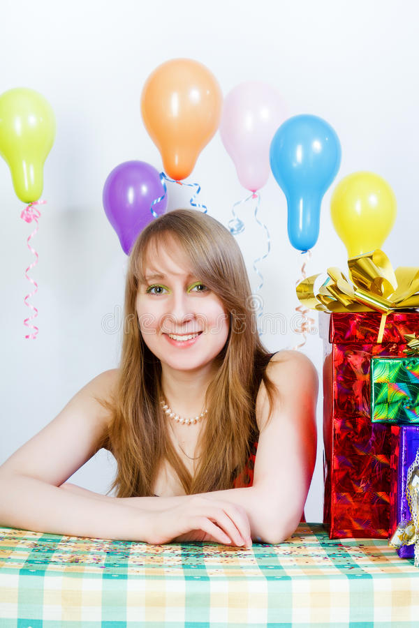 Download Happy Birthday. Attractive Young Girl With Gifts Stock Image - Image of girl, emotion: 26695189