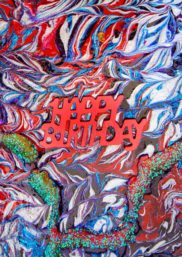 Happy birthday background. Abstracted colorful painted of decorated background with words, happy birthday royalty free stock photography