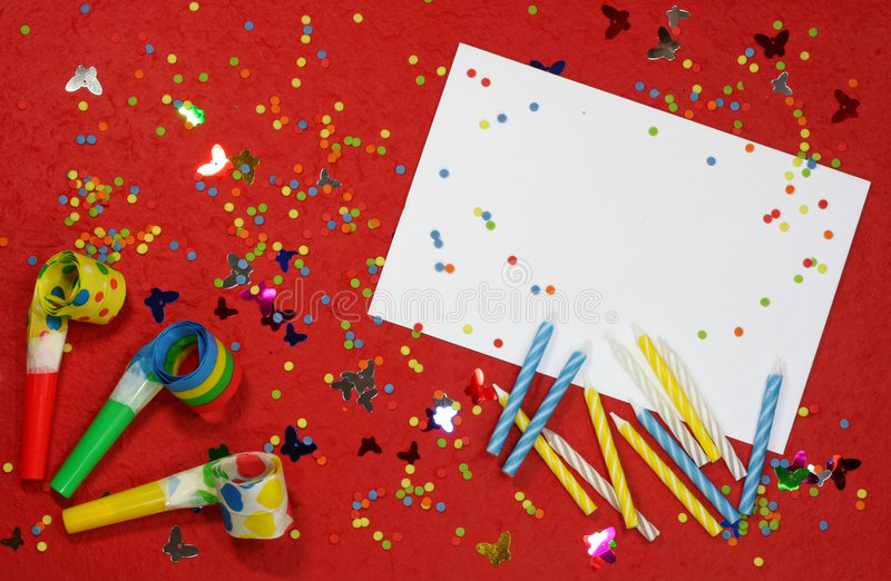 Happy birthday background. Blank note on red stock images