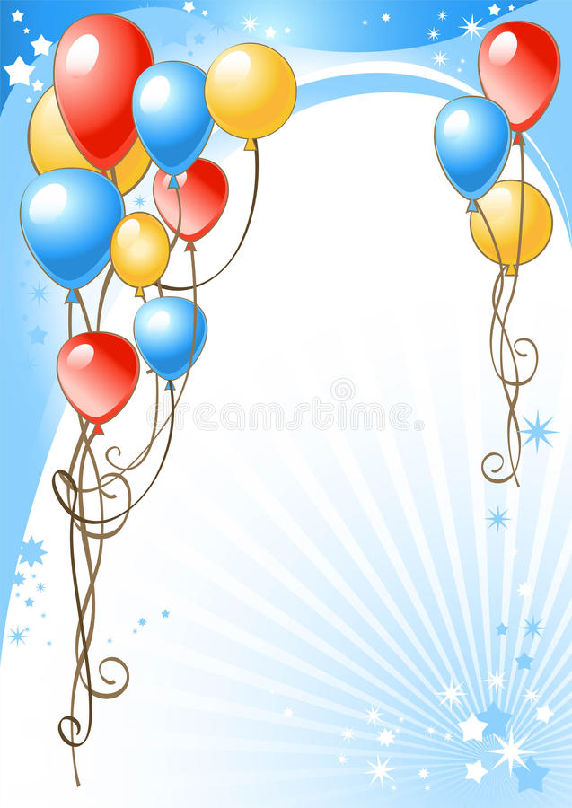 Happy birthday background with balloons stock illustration