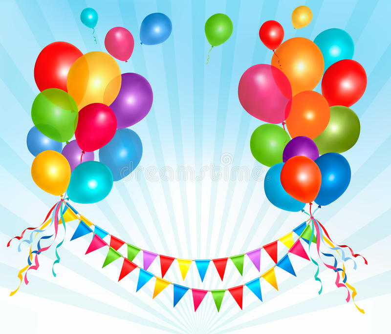 Happy birthday background with colorful balloons. royalty free illustration