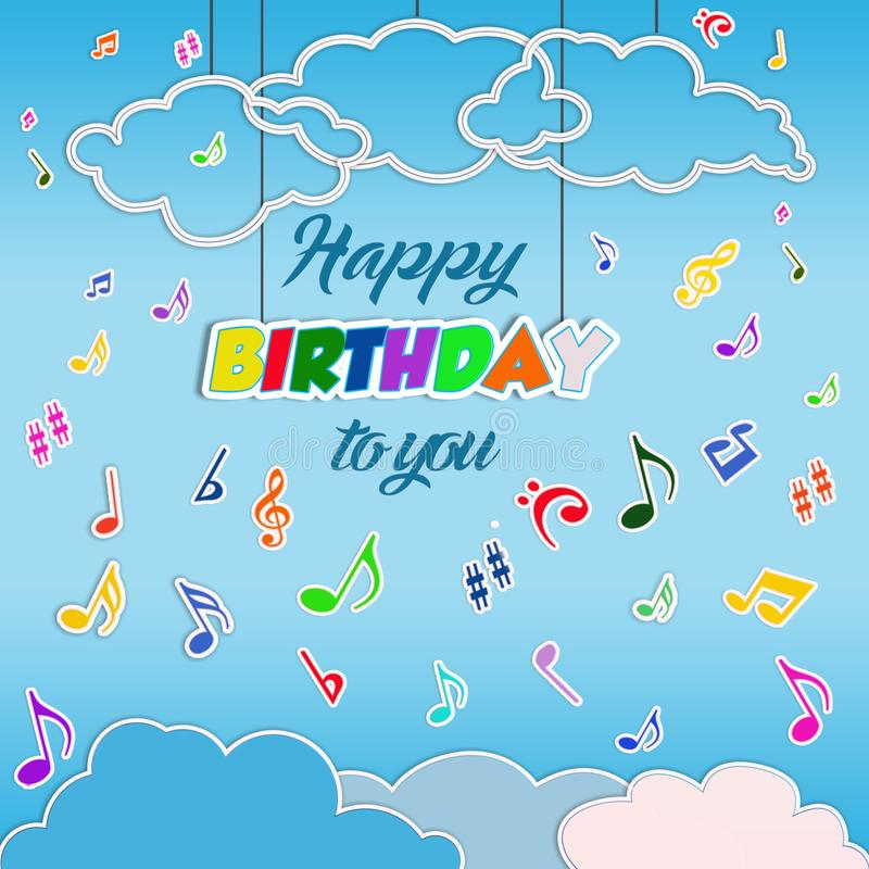 Happy birthday background with flying musical notes stock illustration