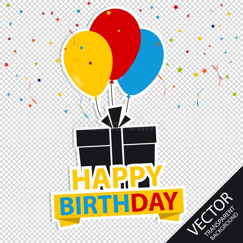 Happy Birthday Background With Gift And Balloons - Colorful Vector Illustration - Isolated On Transparent Background royalty free illustration