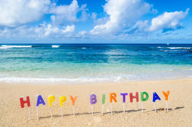 Happy Birthday background. Sign Happy Birthday on the tropical beach in Hawaii stock photo