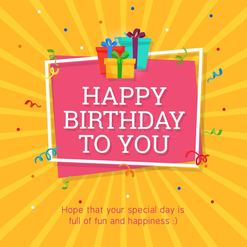 Happy Birthday Background Template with Gift Box Illustration. royalty free illustration