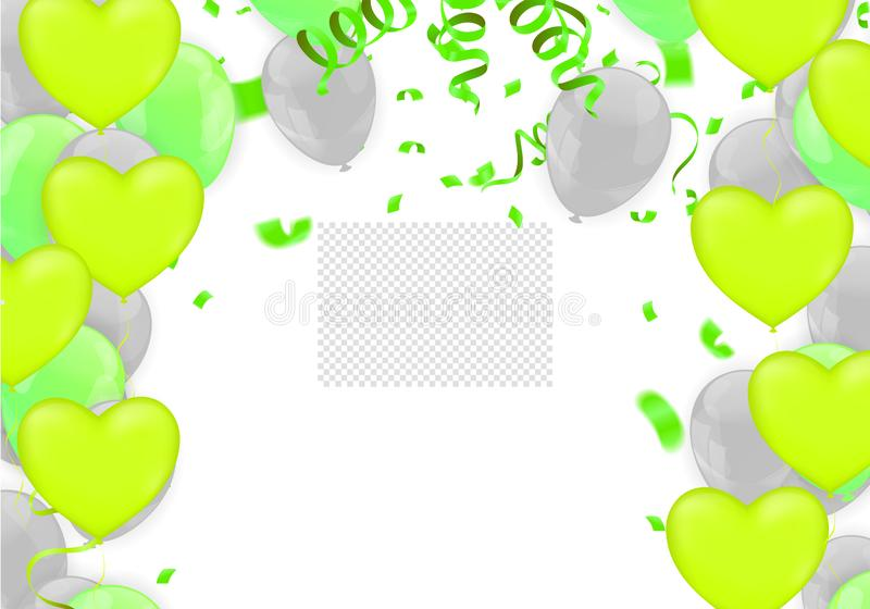Happy Birthday Backgrounds Grand opening ceremony vector banner. Realistic glossy balloons, confetti stock illustration