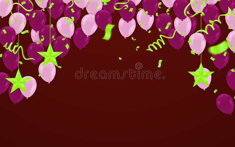 Happy Birthday Backgrounds Grand opening ceremony vector banner. Realistic glossy balloons, confetti. Eps.10 vector illustration