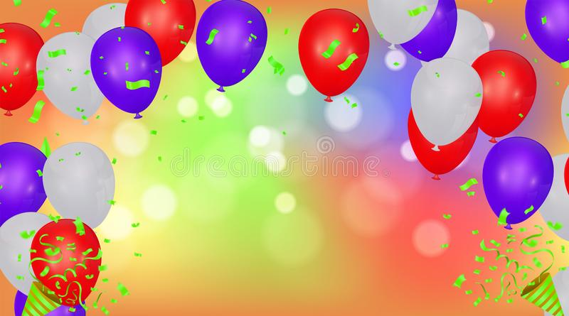 Happy Birthday Backgrounds Grand opening ceremony vector banner. Realistic glossy balloons, confetti. Eps.10 stock illustration