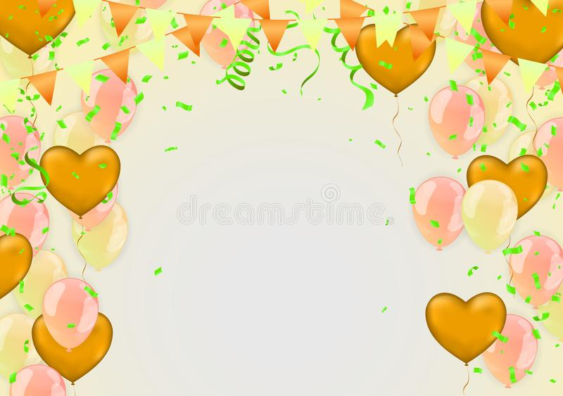Happy Birthday Backgrounds Grand opening ceremony vector banner. Realistic glossy balloons, confetti royalty free illustration