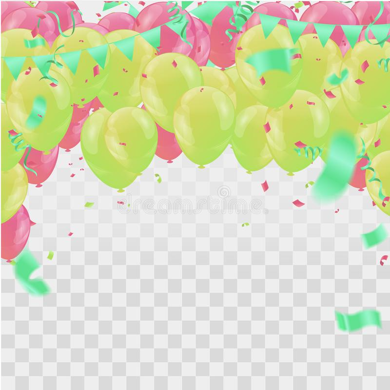 Happy Birthday Backgrounds Grand opening ceremony vector banner. Realistic glossy balloons, confetti vector illustration
