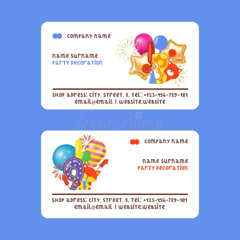 Happy birthday badges set of business cards vector illustration. Balloons, salute, cat, fox, present, gift. Party. Happy birthday badges set of business cards royalty free illustration