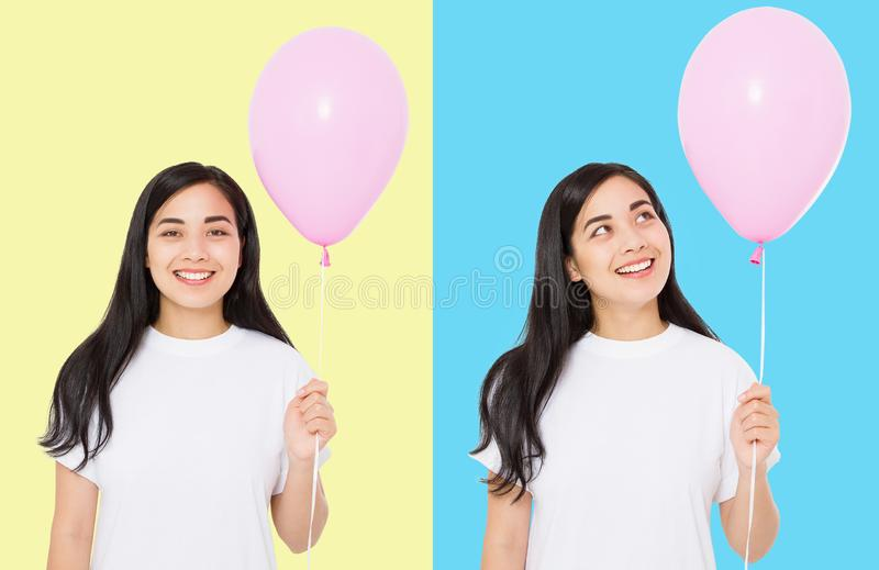 Happy birthday. Balloon party collage. Happy asian girl with balloons isolated on white colorful background. Copy space. Blank stock image