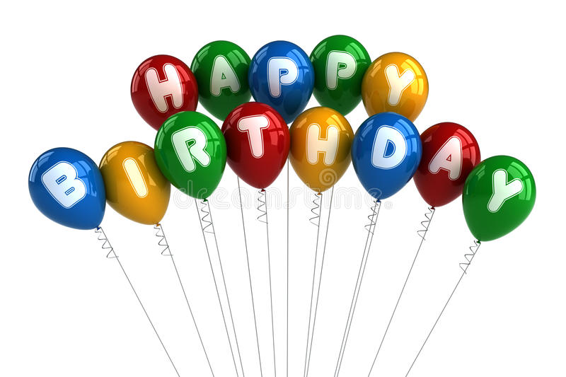 Happy Birthday Balloons. Colorful happy birthday balloons over white background vector illustration