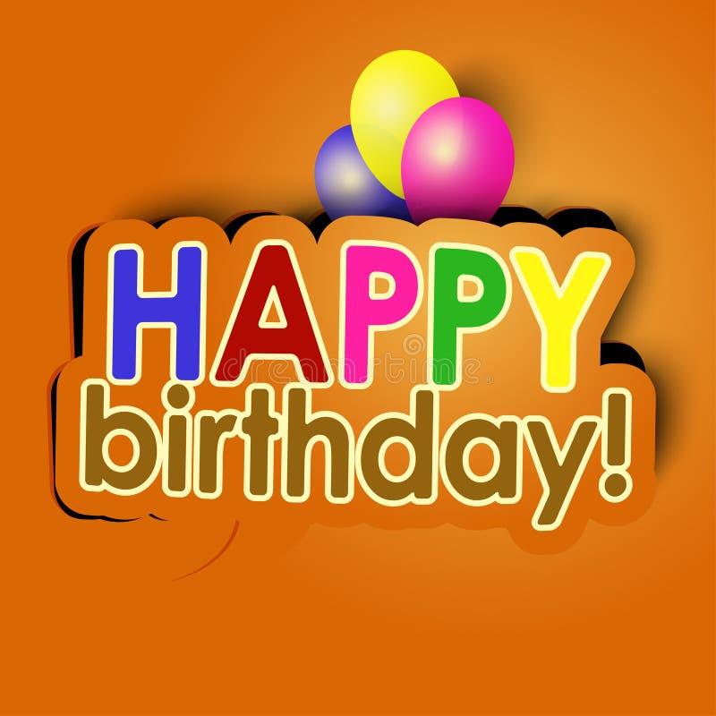Happy birthday with balloons. Vector illustartion stock illustration