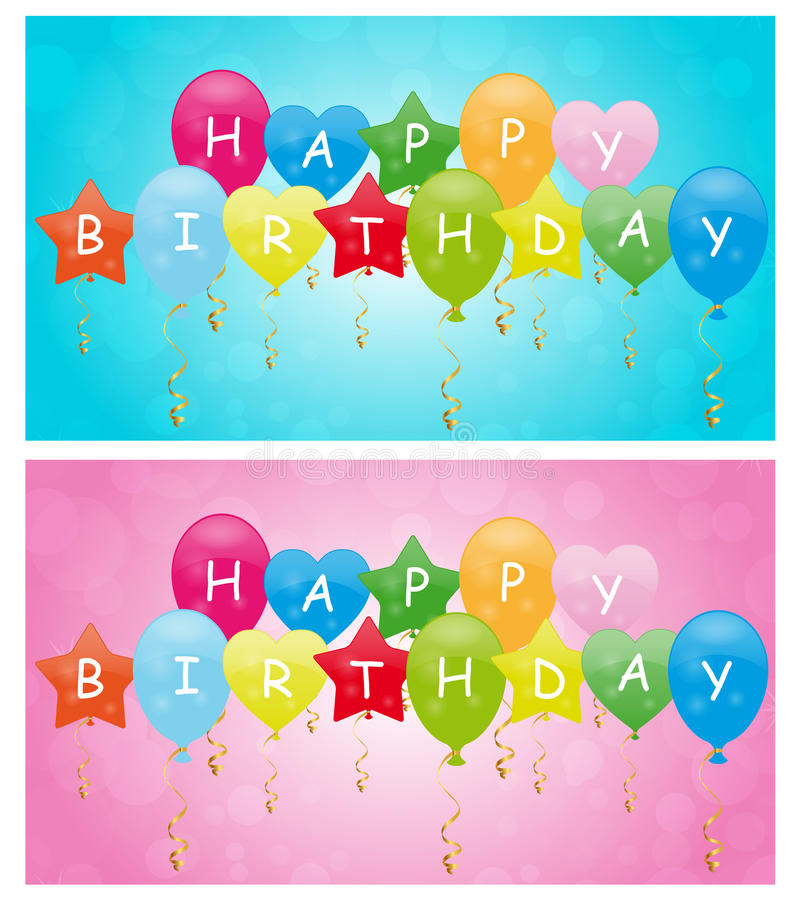 Happy birthday balloons. Backgrounds for boy and girl. Eps file available stock illustration