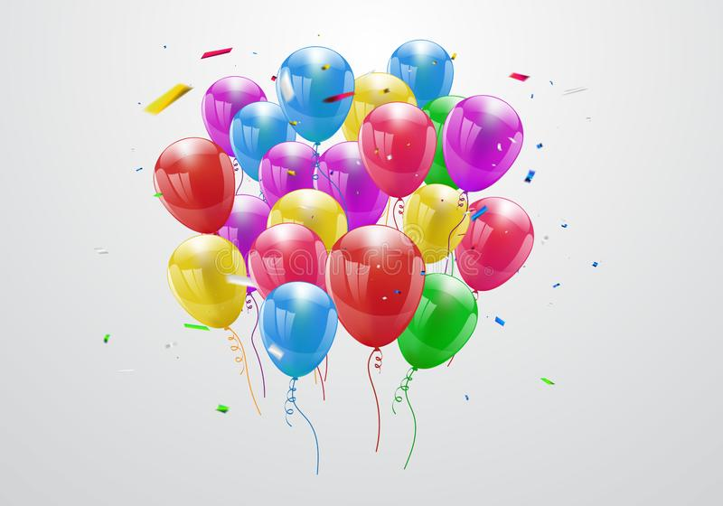 Balloons Colorful celebration background with confetti. - Vector stock illustration