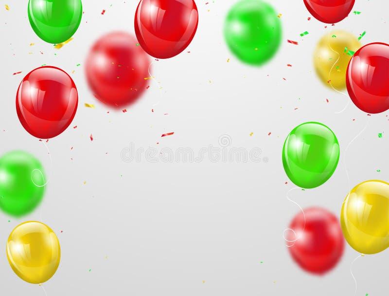 Happy Birthday balloons Colorful celebration background stock illustration