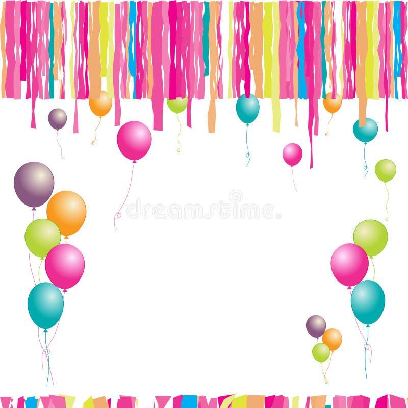 Happy birthday! Balloons and confetti. stock illustration