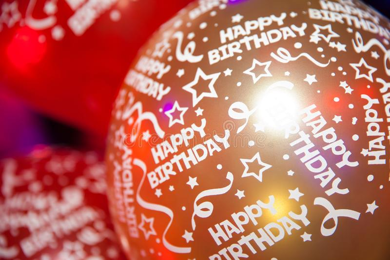 Happy birthday balloons. Different color of balloon with happy birthday words print on it stock images
