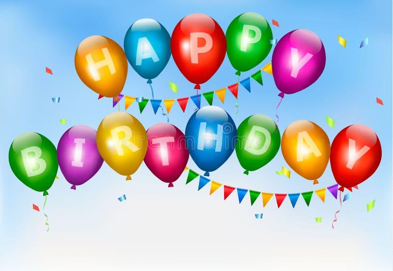 Happy birthday balloons. Holiday background. royalty free illustration