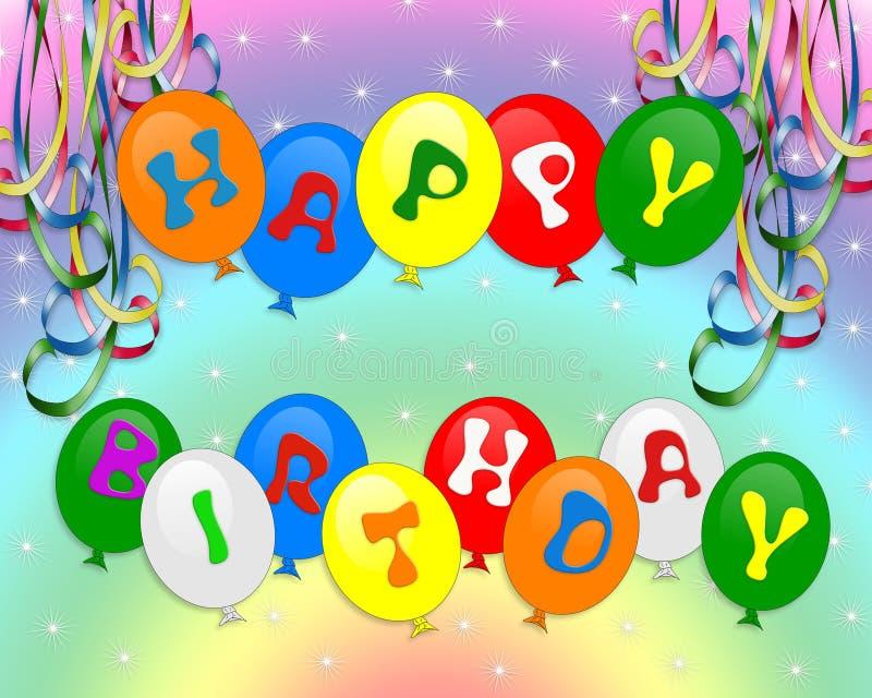 Happy Birthday Balloons invitation royalty free illustration