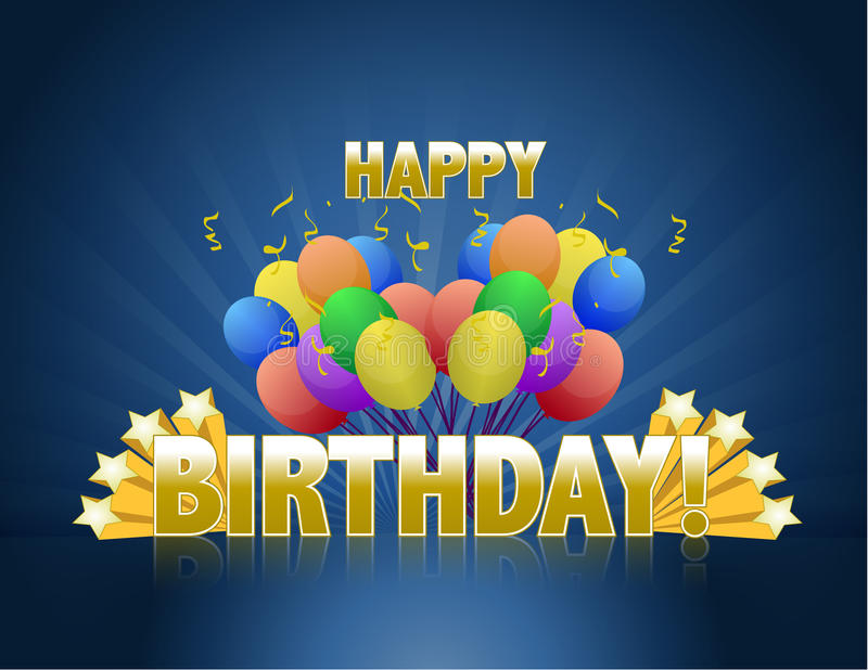 Happy birthday balloons logo sign. With golden stars ans rays of light royalty free illustration