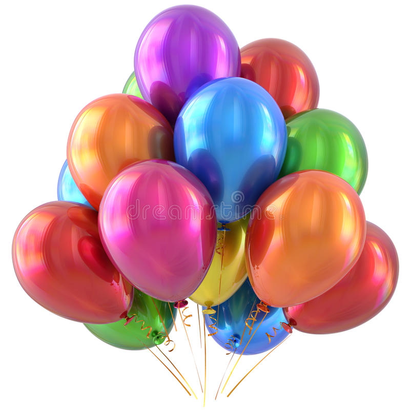 Happy birthday balloons party decoration colorful multicolored stock illustration