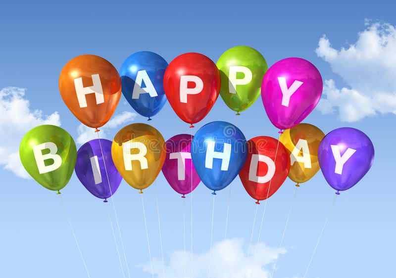 Happy Birthday balloons in the sky. Colored Happy Birthday balloons in the sky royalty free illustration