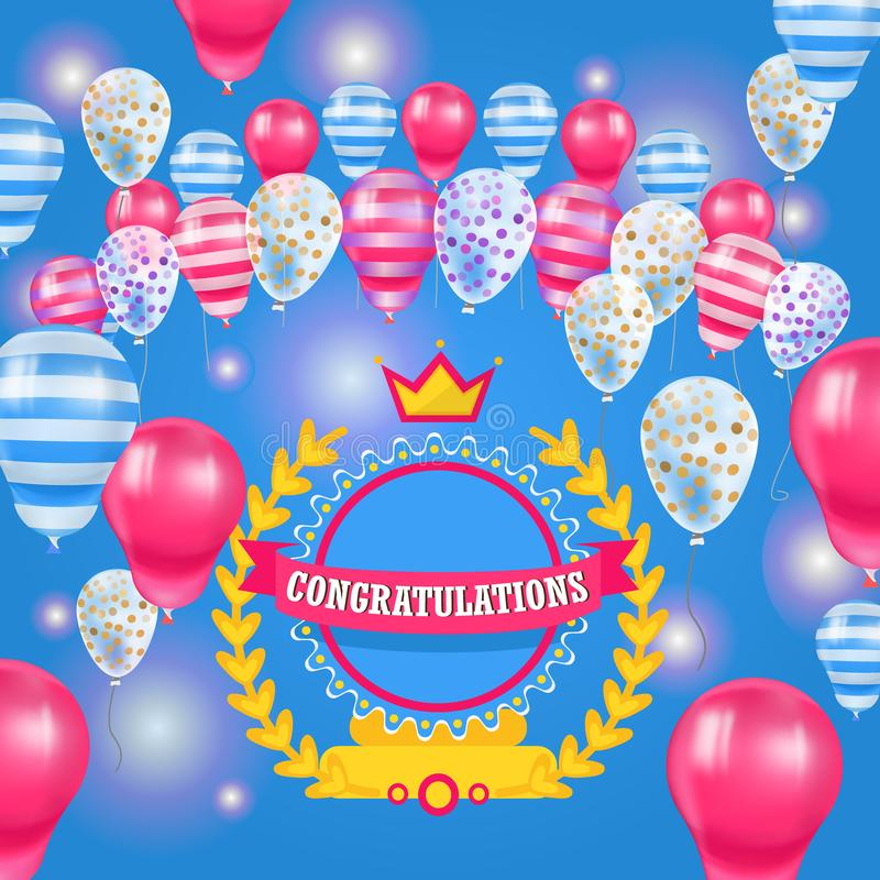 Happy Birthday baloons celebration poster vector illustration. Realistic 3d pink, stripped and dotted balloons stock illustration