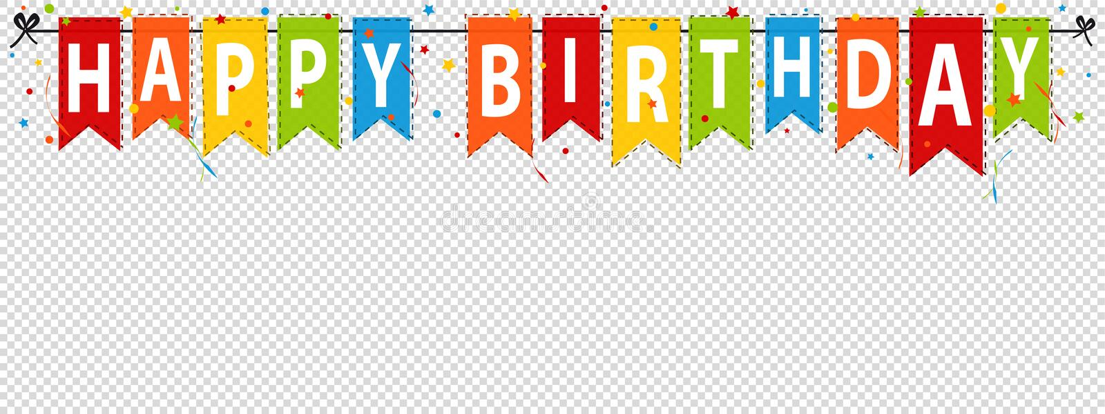 Happy Birthday Banner, Background - Editable Vector Illustration - Isolated On Transparent. Background vector illustration