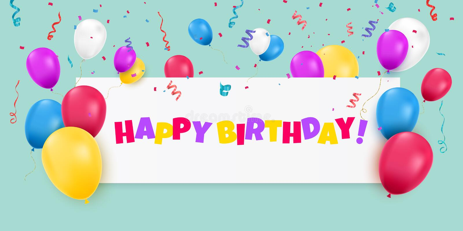 Happy Birthday banner with color balloons and confetti on blue background. royalty free illustration