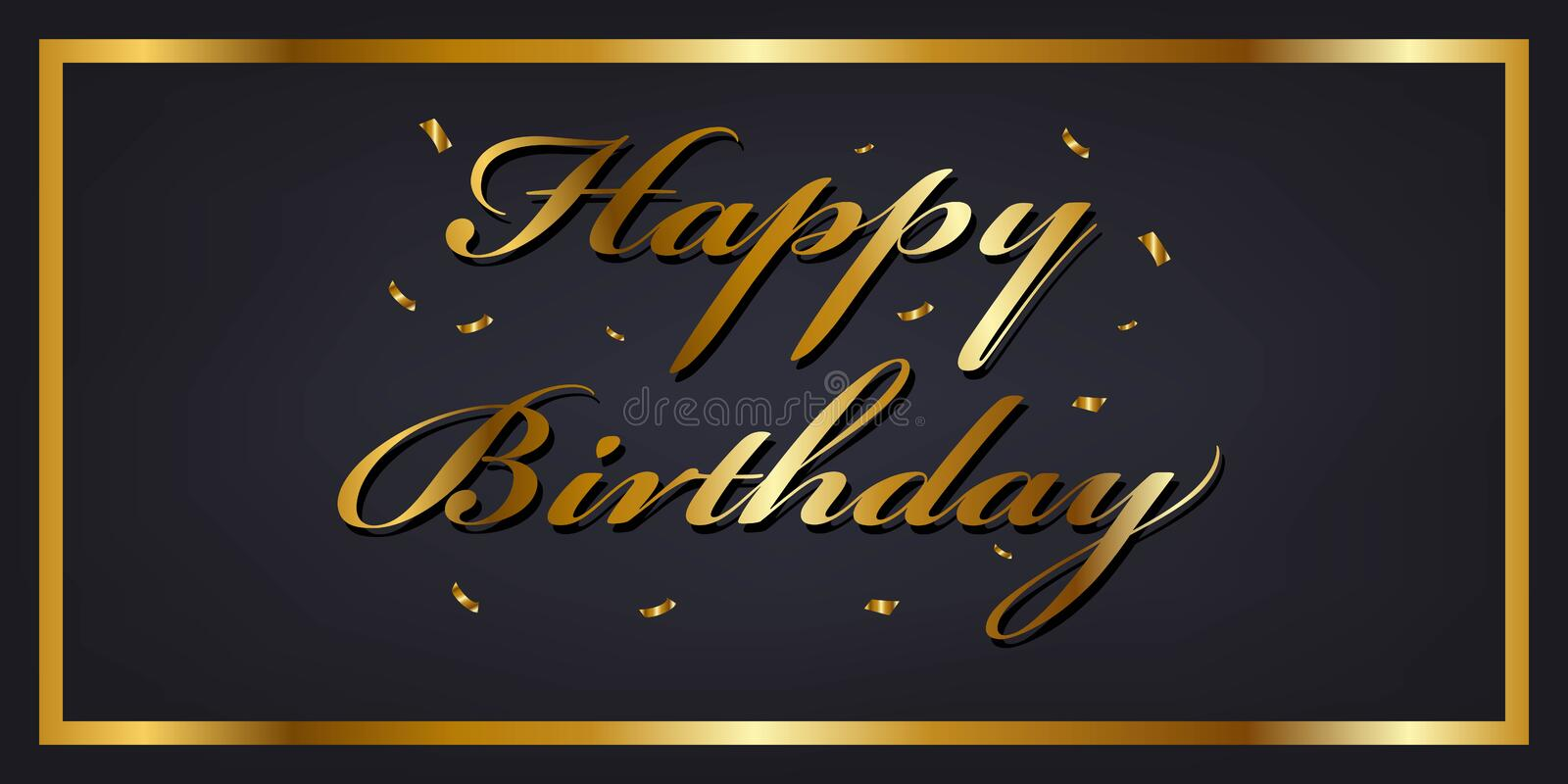Happy birthday banner template. with golden confetti. Happy birthday banner template. with golden confetti stock illustration